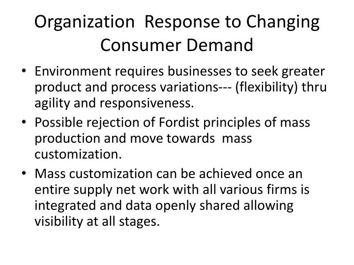 Organization  Response to Changing Consumer Demand