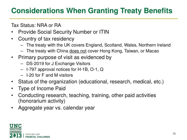 Considerations When Granting Treaty Benefits