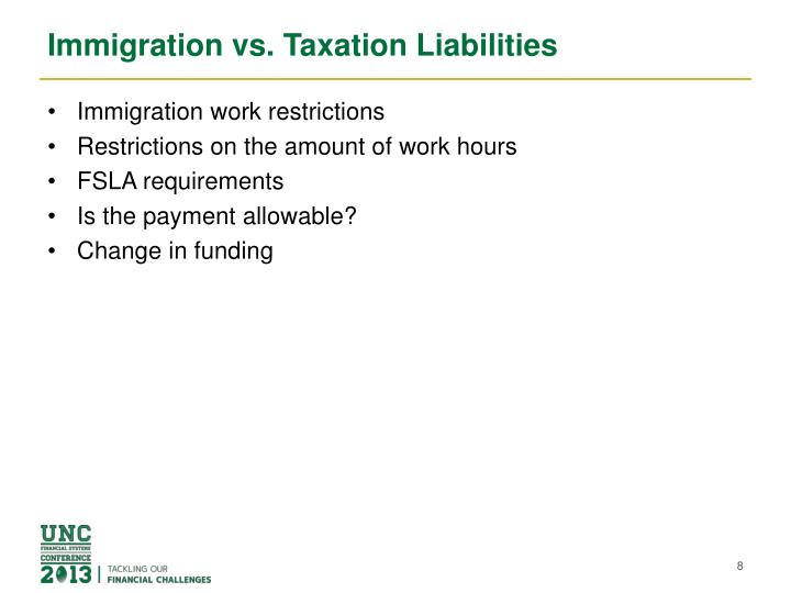 Immigration vs. Taxation Liabilities
