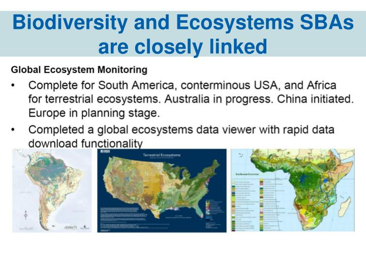 Biodiversity and Ecosystems SBAs