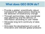 what does geo bon do1