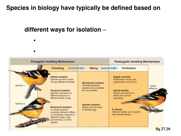Species in biology have typically be defined based on