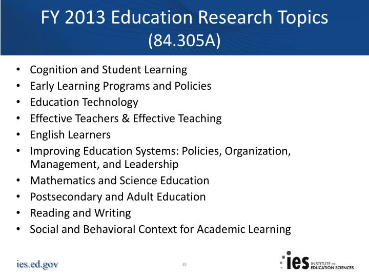 FY 2013 Education Research Topics