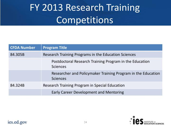 FY 2013 Research Training Competitions