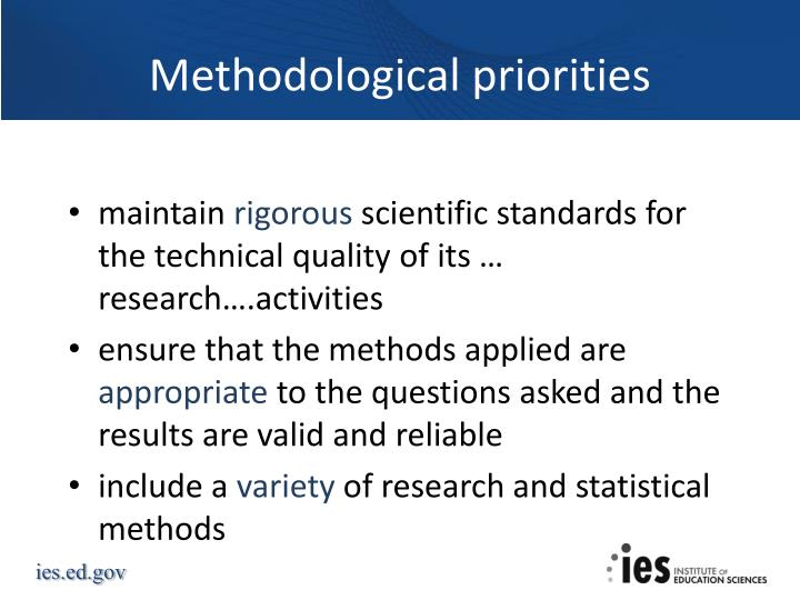 Methodological priorities