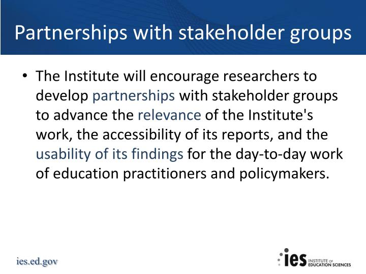 Partnerships with stakeholder groups