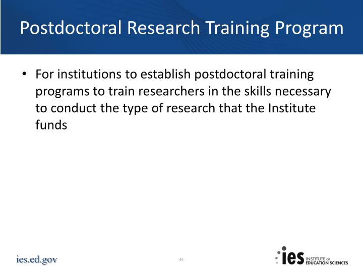 Postdoctoral Research Training