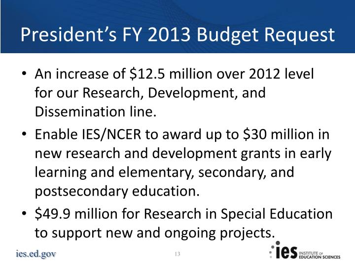President's FY 2013 Budget Request