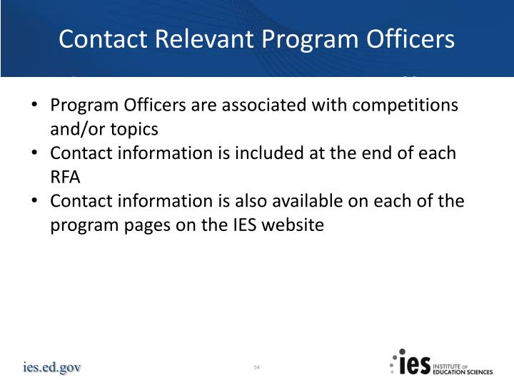Contact Relevant Program Officers
