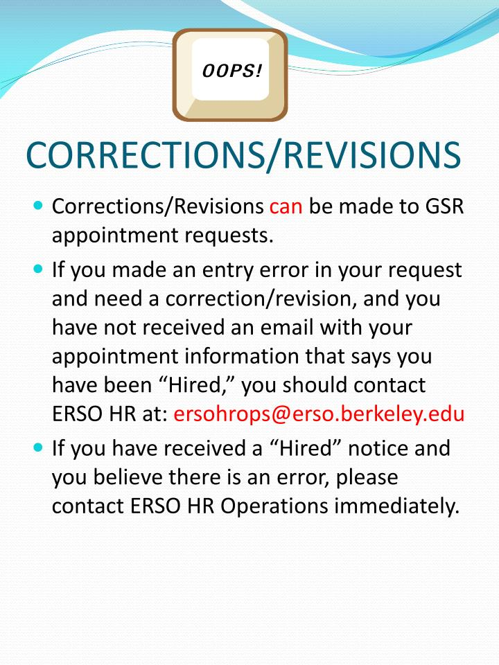 CORRECTIONS/REVISIONS