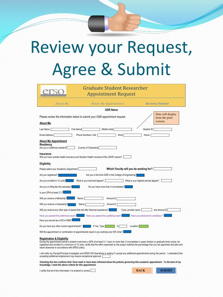 Review your Request, Agree & Submit