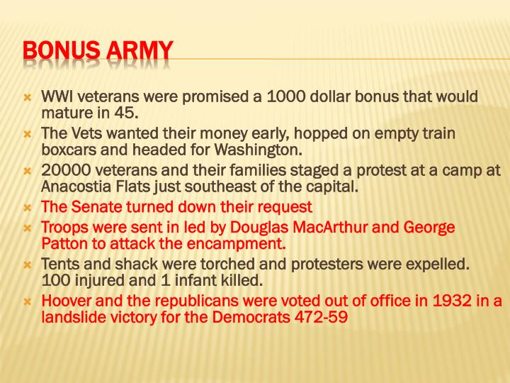 WWI veterans were promised a 1000 dollar bonus that would mature in 45.