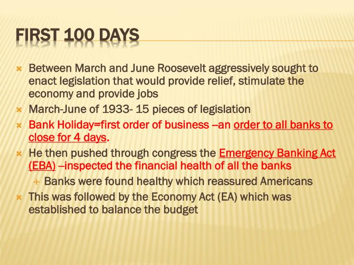 Between March and June Roosevelt aggressively sought to enact legislation that would provide relief, stimulate the economy and provide jobs