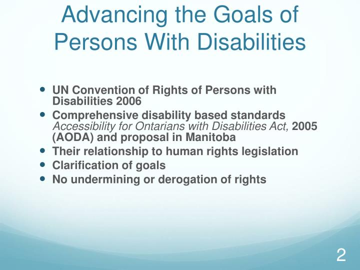 Advancing the Goals of Persons With Disabilities