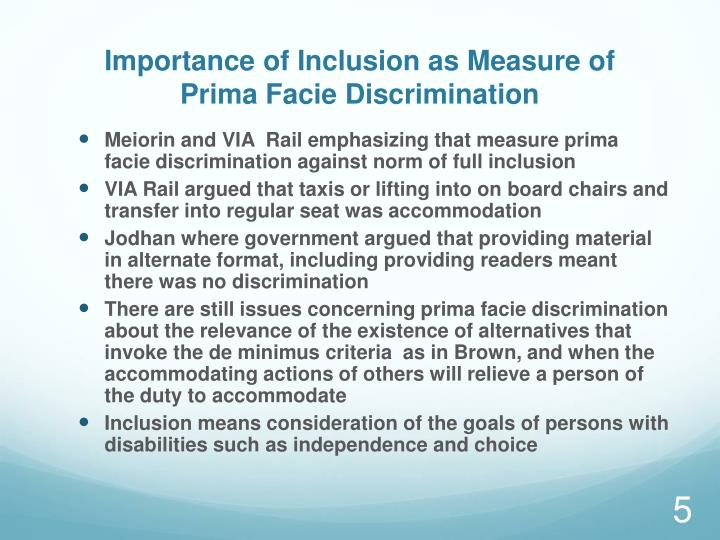 Importance of Inclusion as Measure of