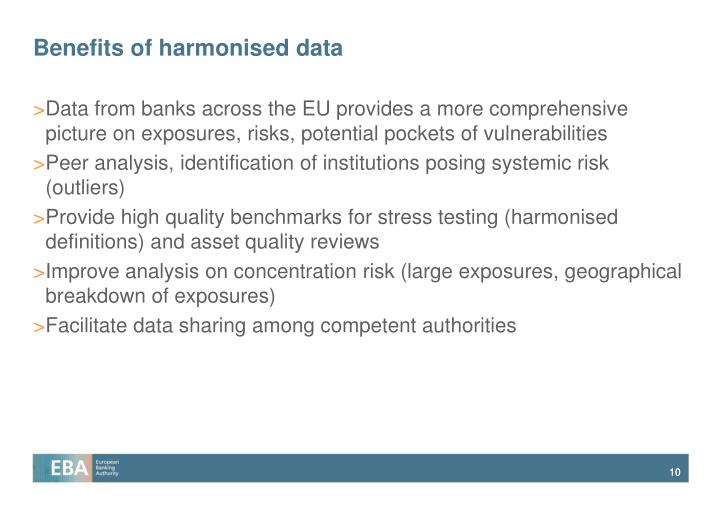 Benefits of harmonised data