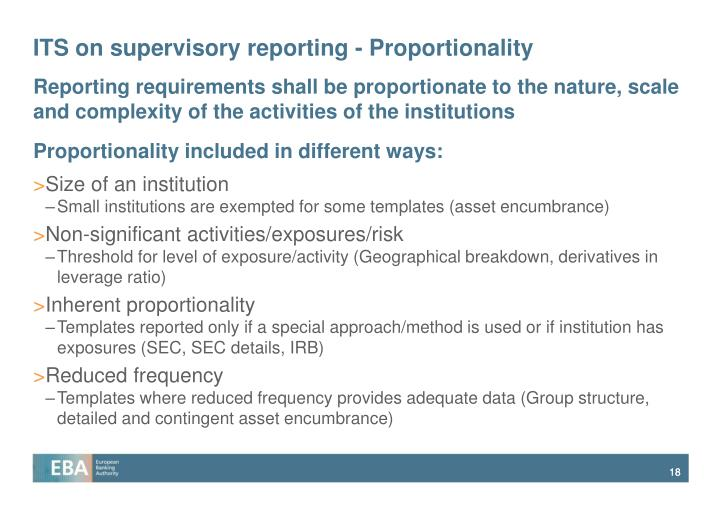 ITS on supervisory reporting - Proportionality