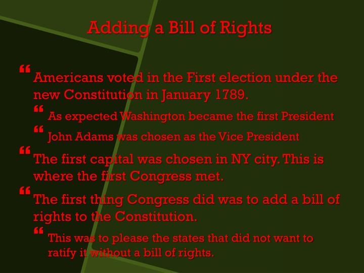 Americans voted in the First election under the new Constitution in January 1789.