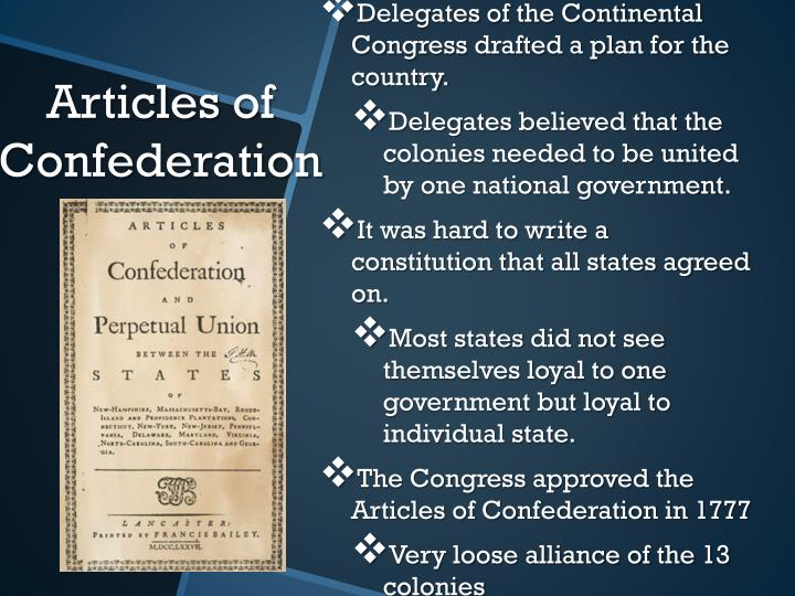 Delegates of the Continental Congress drafted a plan for the country.