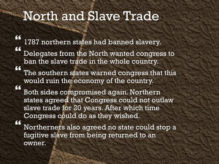 1787 northern states had banned slavery.