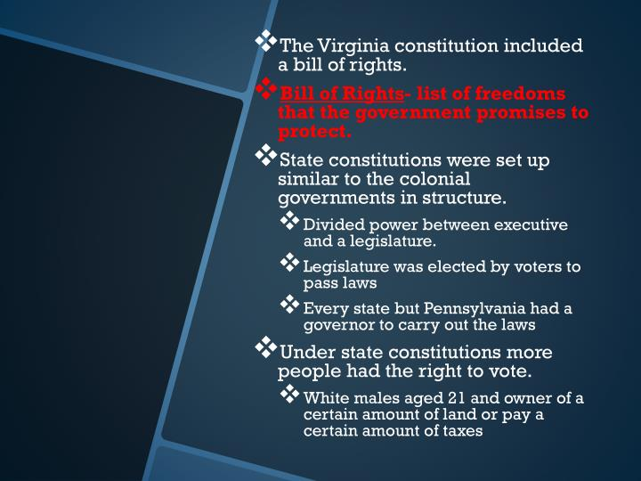 The Virginia constitution included a bill of rights.