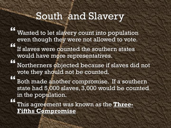 Wanted to let slavery count into population even though they were not allowed to vote.