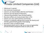 private limited companies ltd