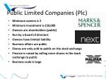 public limited companies plc