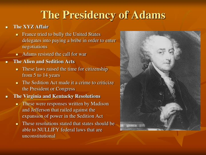 The Presidency of Adams