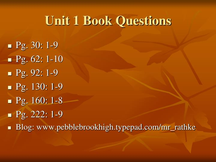 Unit 1 Book Questions