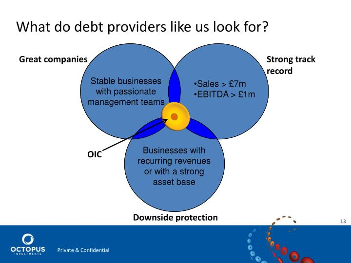 What do debt providers like us look for?