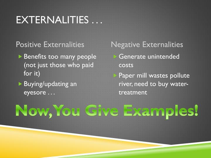 Externalities . . .