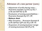 admission of a new partner cont