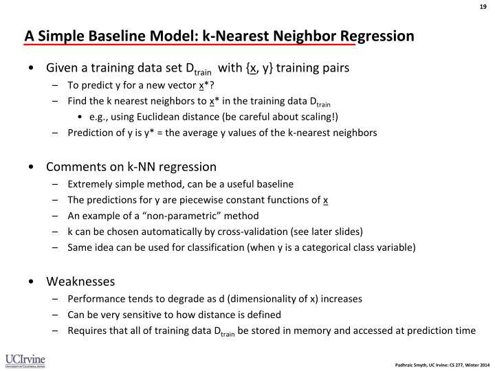 A Simple Baseline Model: k-Nearest Neighbor Regression