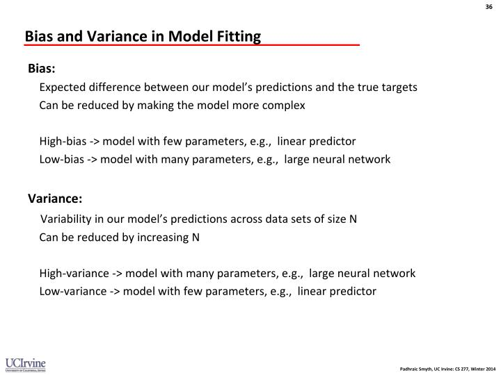 Bias and Variance in Model Fitting