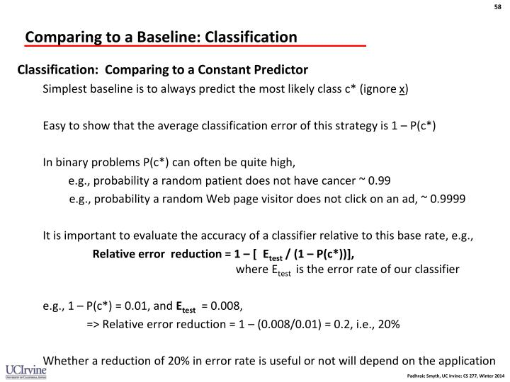 Comparing to a Baseline: Classification