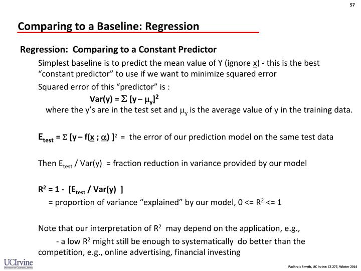 Comparing to a Baseline: Regression