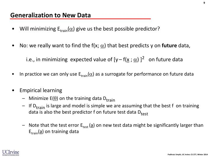 Generalization to New Data