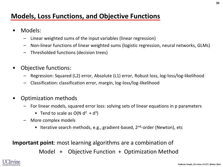 Models, Loss Functions, and Objective Functions