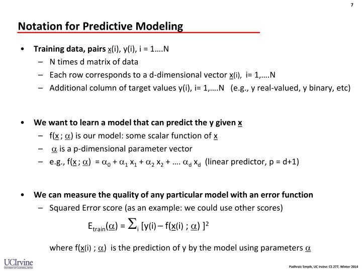 Notation for Predictive Modeling