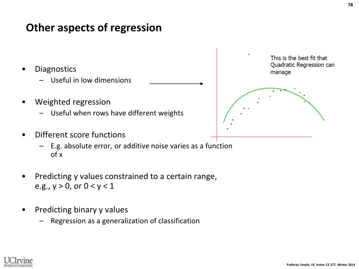 Other aspects of regression