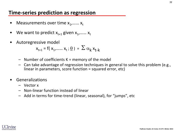 Time-series prediction as regression