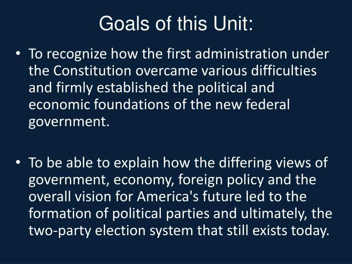 Goals of this Unit: