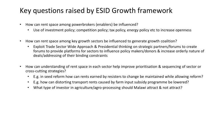 Key questions raised by ESID Growth framework