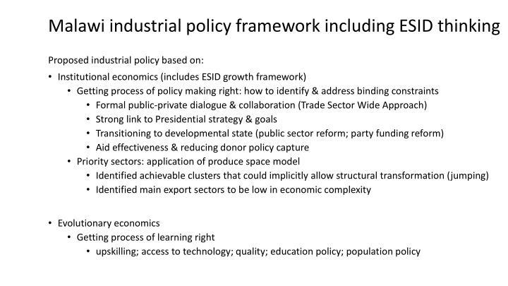 Malawi industrial policy framework including ESID thinking