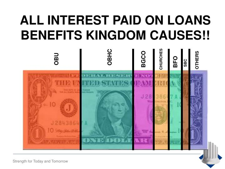 ALL INTEREST PAID ON LOANS BENEFITS KINGDOM CAUSES!!