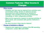 common features other income changes