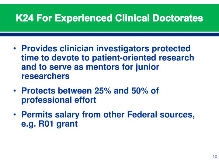 K24 For Experienced Clinical Doctorates