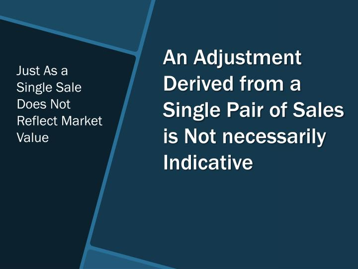 Just As a Single Sale Does Not Reflect Market Value