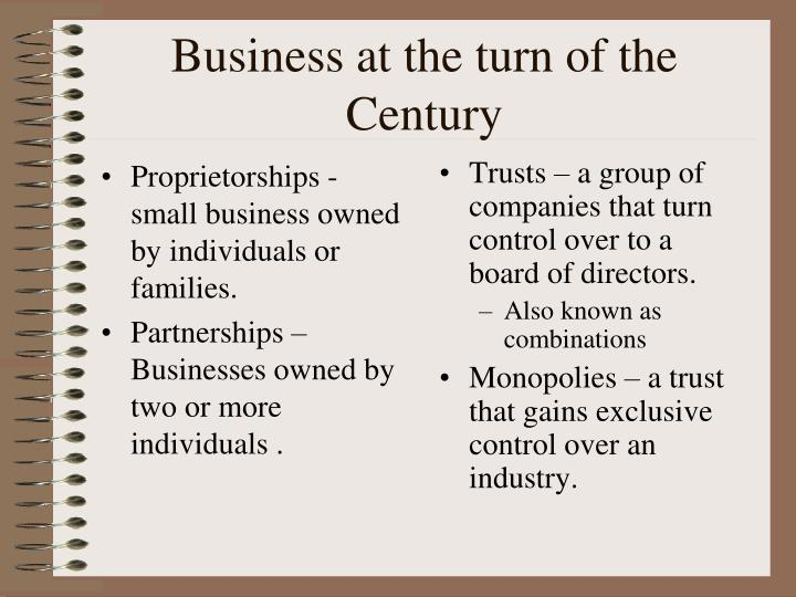 Proprietorships - small business owned by individuals or families.